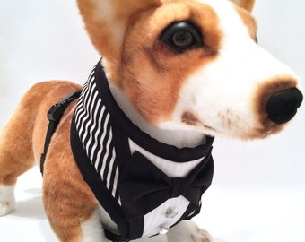 Striped Dog Tuxedo Comfort Harness Harness w/ Bowtie and Ornate Buttons
