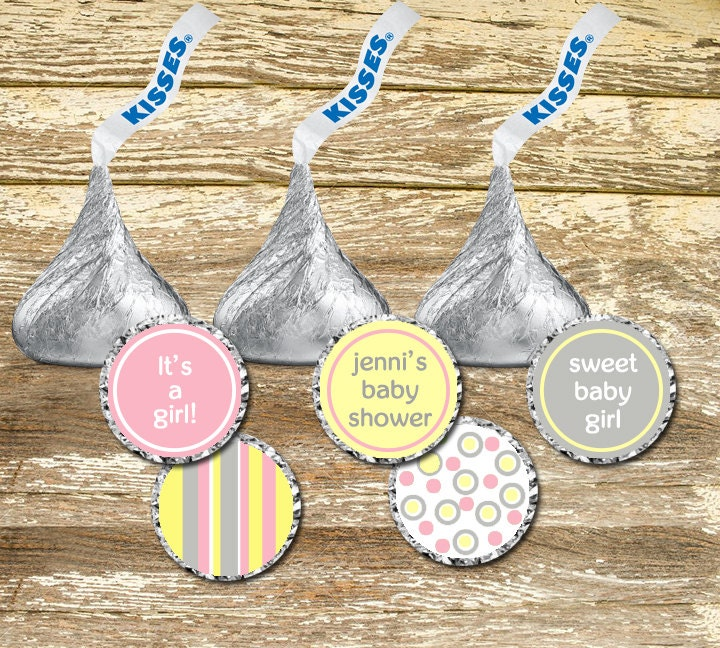 Baby Shower Stickers For Hershey Kisses ~ Hershey kisses stickers baby shower girl pink