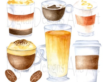 Coffee clipart, Watercolor coffee clip art, Coffee cups clipart, Coffee illustrations, Hand drawn coffee clipart, Watercolour coffee art