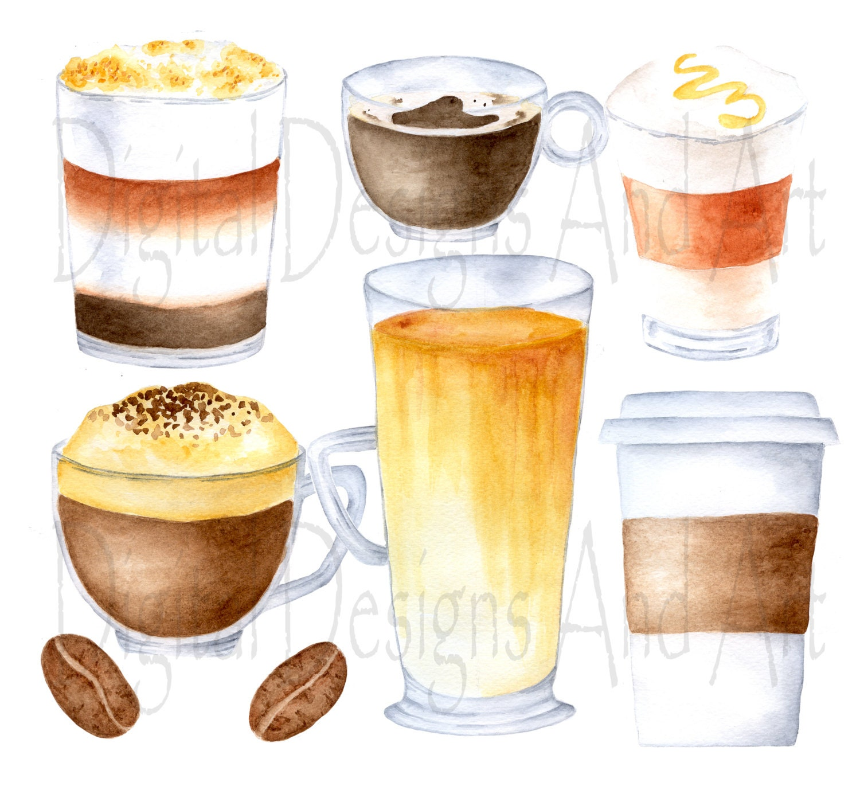 Coffee clipart watercolor coffee clip art coffee cups for Coffee watercolor