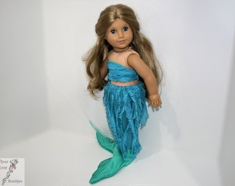 Mermaid Tail andMatching Swimsuit Aqua, Turquoise, for 18 Inch Dolls such as American Girl, Our Generation, Madam Alexander