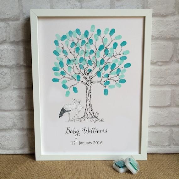 baby shower fingerprint tree unframed stork personalised guestbook