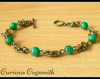 Green Jade Chainmail Bracelet - Jade Bracelet - Chain Mail Bracelet - Chainmaille Bracelet - Chainmail Jewellery - Chainmail Jewelry