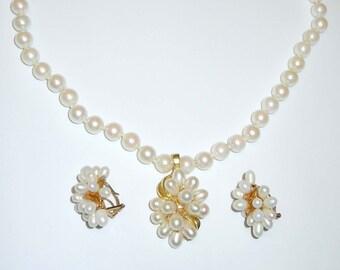 14kt Gold Fresh Water Pearl Diamond Enhancer Pendant Necklace Earring Suite Set