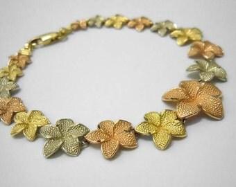 14kt Tri Color Gold Graduated Textured Leaves Bracelet 14k Leaf Link
