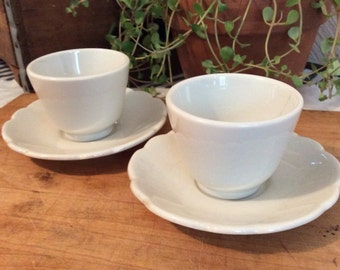 Set of Two Buffalo China Custard Cups and Saucers