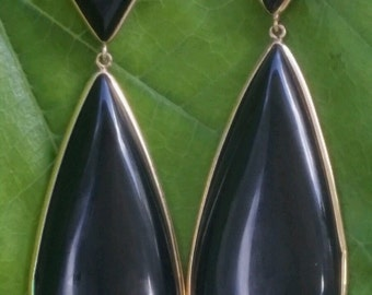 Vintage 14k Yellow Gold Onyx Earrings Estate Jewelry Large 19.7 gm