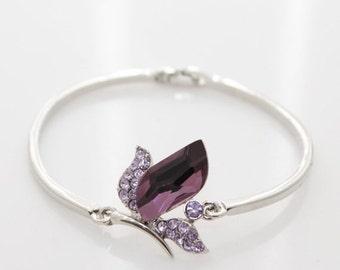 New woman's dark purple flower with silver white bangle bracelet