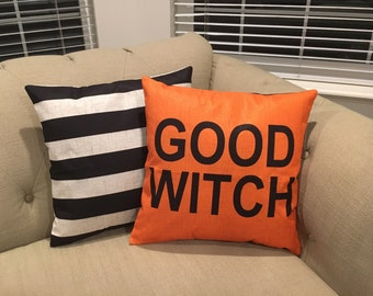 REVERSIBLE-Good Witch/Bad Witch  - Halloween pillow cover