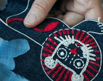 APPLIQUE PATCH KIT Fun animals to embroider on blue denim
