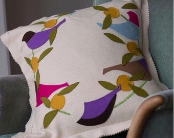 APPLIQUE EMBROIDERY KIT  Bespoke Lilac Roller Cushion kit in pure wool.