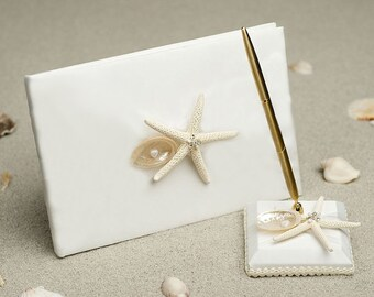 Beach Wedding Guest Book and Pen Set with Starfish and Seashells
