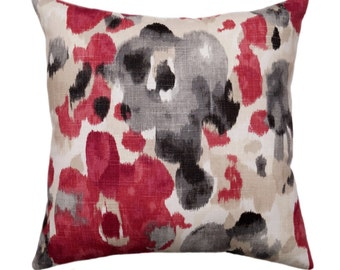 Red and Grey Pillow Cover, Robert Allen Landsmeer Currant Throw Pillow, Watercolor Floral Decorative Throw Pillow, Red Accent Pillow Cover