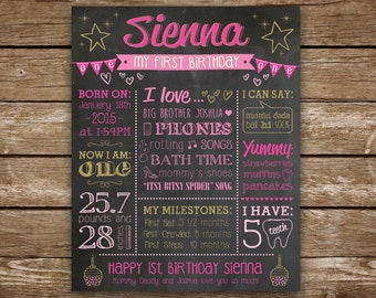 First Birthday Chalkboard, 1st Birthday Girl, Chalkboard Sign, Baby's First Birthday, Chalkboard Printable Poster