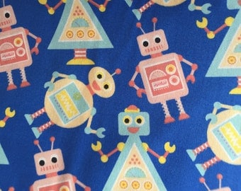 Bright Blue Robots Retro 100%  Cotton Half Metre Cute