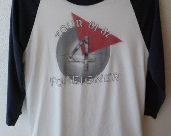 """Foreigner-""""4"""" tour t.shirt 1981/82-size L/M-Classic Rock"""