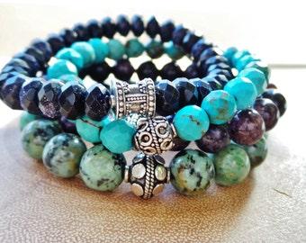 Genuine Turquoise and Sterling Bali Boho Stretch Bracelet / Gemstone Stacking Bracelet / Turquoise Bracelet / Sterling Bracelet