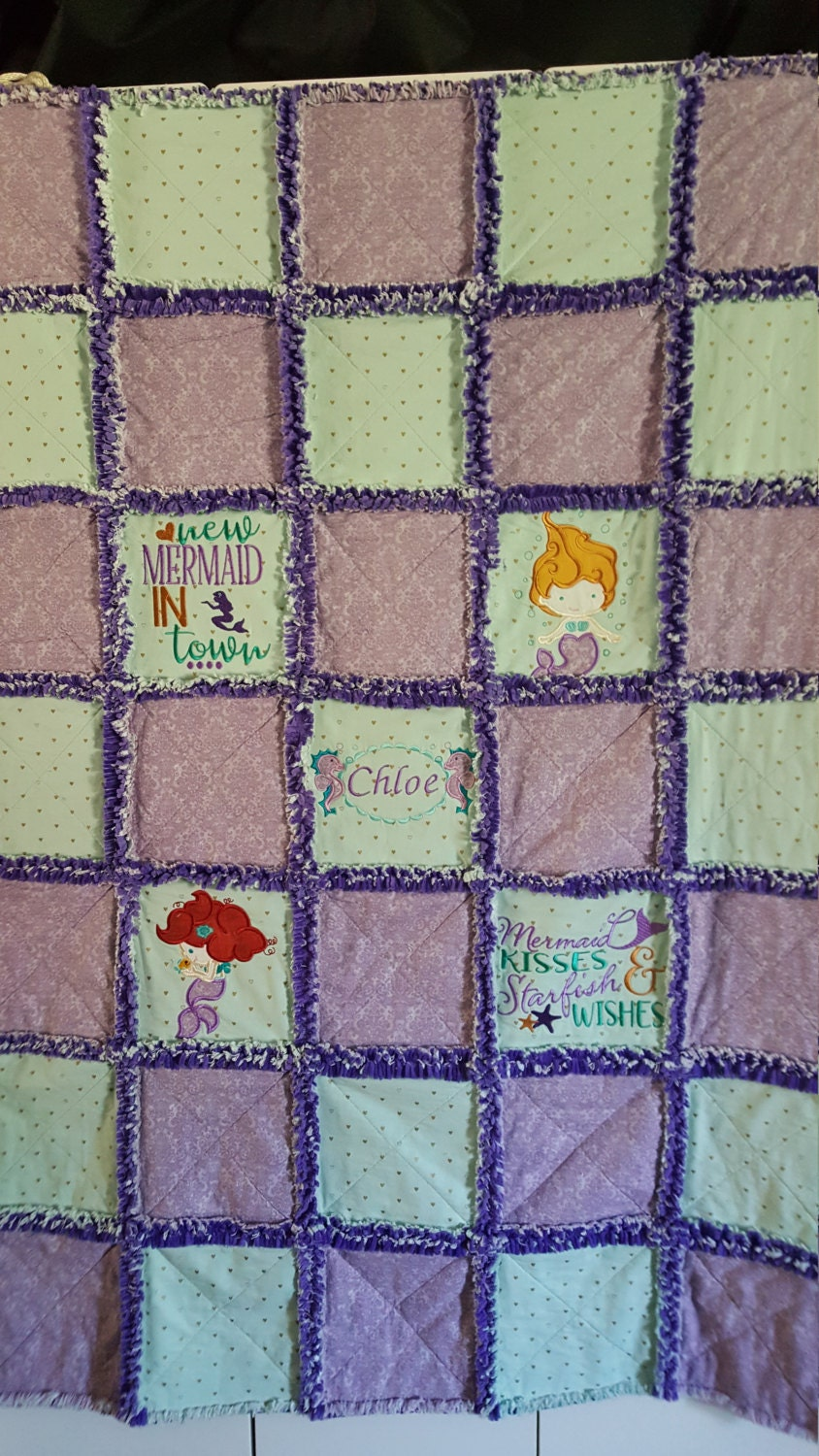 Rag Quilt Color Ideas : Custom Mermaid Rag Quilt. Your Choice of colors and designs.