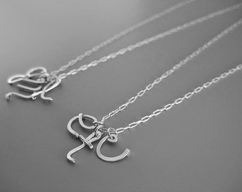 Mother Initial Necklace - three lowercase cursive letter with silver plated chain, personalized family necklace