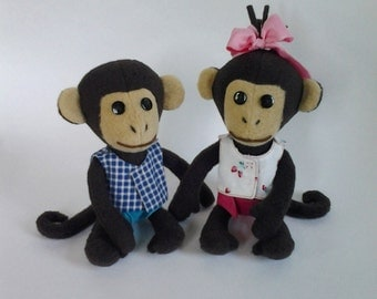 Pubsy-Cubsy, Two monkeys boy and girl, Stuffed Monkeys, Plush Toy Monkeys, FREE SHIPPING