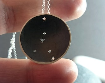 Custom Constellation Pendant, Zodiac Horoscope Necklace, Starry Night Sky Jewelry,  Night Sky Constellations Necklace