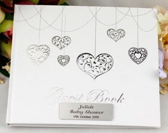 Personalised Baby Shower Heart Guest Book