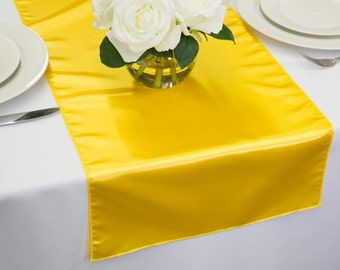 Wedding table runner etsy yellow satin table runner wedding table runners junglespirit Images