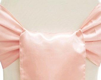 Blush Chair Sash Satin | Wedding Chair Sashes (Pack of 8)