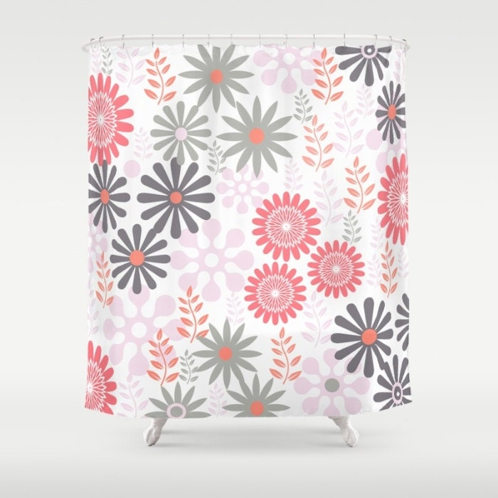 shower curtain 39 floral in coral and gray 39 71. Black Bedroom Furniture Sets. Home Design Ideas