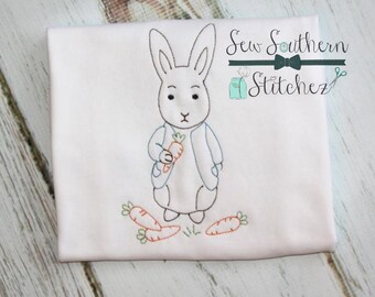 Vintage Boy Bunny Embroidery Design ~  Easter Bunny Design ~ Instant Download
