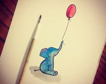 Baby Elephant with Balloon Print, Wall Decor, Art