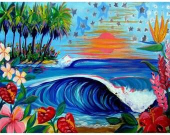 "New Break, 8x10"" tropical surf art print by Shannon McIntyre"