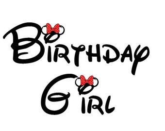Disney Birthday Girl Iron on T Shirt Transfer