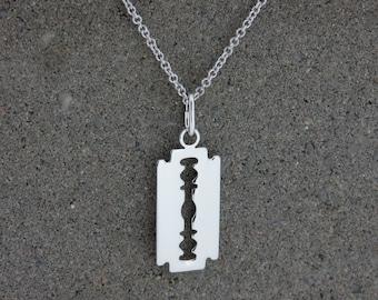 Personalised Silver Razor Blade Pendant Necklace - Free Engraving