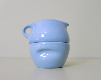 Vintage Russel Wright Iroquois Casual Ice Blue Stacking Cream and Sugar Set, Mid Century
