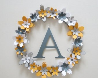 Floral Monogram Wall Hanging, flower wreath, wall decor, paper flowers, home decor, grey white and yellow, kids room,nursery, wall letters