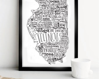 Illinois State Print- Hand Lettered State Print- IL State Print- 8x10 State Print- Wall Decor- Home Decor- State Print- Illini Print