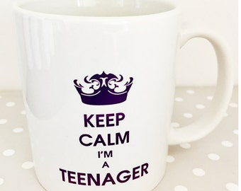 Keep calm I'm a teenager - purple - great christmas or birthday gift. Great secret santa gift