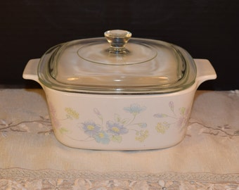 Corning Ware Pastel Bouquet A 1 1/2 B Lid & Casserole Dish Vintage Pastel Bouquet Baking Dish 1.5 Liter Covered Casserole Made in USA