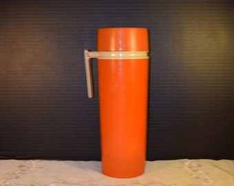 Tall Orange Thermos Vintage Insulated Vacuum Jar Model 7402 Camping Hiking Thermos Lunch Insulated Drinking Thermos Made in USA
