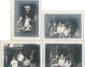 Four Antique 1910s Small Black and White Photographs - Serious Sisters