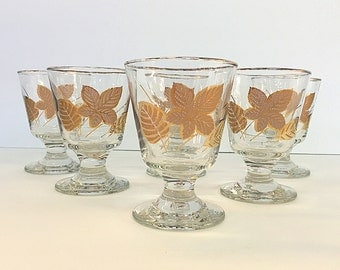 Libbey Rock Sharpe Gold Maple Oak Leaves Glasses Mid Century Vintage Short Pedestal Bar Drinking Wine Glass Set of 6