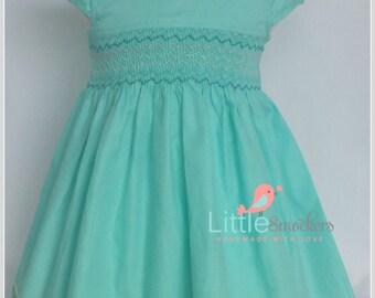 Beautiful Aqua Green Hand smocked toddler dress - size  2