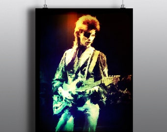 David Bowie-  Ziggy Stardust and the Spiders from Mars, Glam Rock, Space Oddity, Diamond Dogs, Art Print, Watercolor Print, Poster No84