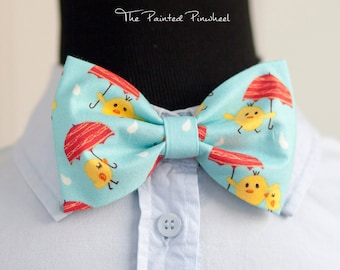 Birds with Umbrellas on Blue Theme Patterned Bow, Bow Tie, Pocket Square