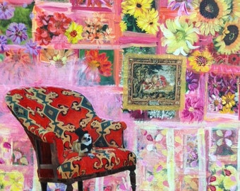 """Mixed Media Collage Art """"The Parlour Chair"""""""