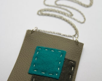 Grey and blue square pendant necklace