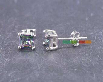 Mystic Rainbow Topaz CZ Earring 5mm Princess Cut Square  Sterling Silver Stud Earring Simple Jewelry Push Back Children Earrings