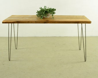 Reclaimed Wood Table, Beautiful reclaimed Dining table with Stabile Hairpin Legs,