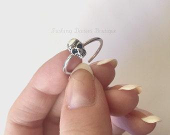 Adjustable Dainty Skull Ring